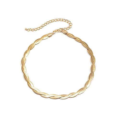 DOOLY 2021 único Collar de Cadena de Serpiente retorcida para Mujer Sexy Vintage Hoja Plana avión clavícula Enlace Gargantilla Collar joyería Bijoux