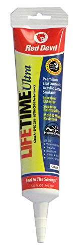 Red Devil 0705 Lifetime Ultra 230 Premium Elastomeric Acrylic Latex Sealant, 5.5 oz, Clear
