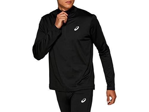 ASICS Men's Silver Long Sleeve 1/2 Zip Winter Top Running Clothes, L, Performance Black