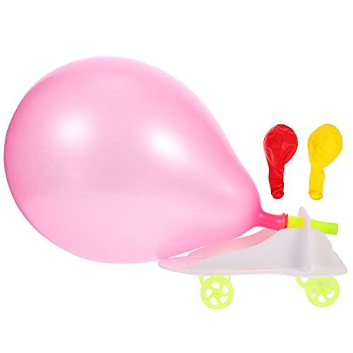 iplusmile 3Pcs Palloncino Powered Car Palloncino Launcher Giocattolo Set Creativo Gonfiabile Pompa A Palloncino Auto da Corsa Stelo Educativi Scienza Giocattolo per Bambini
