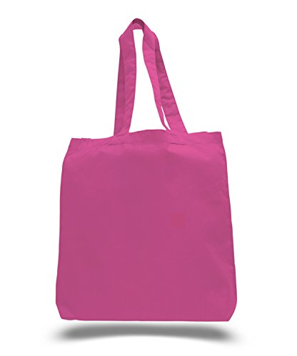 (3 Pack) Set of 3 Cotton Tote Bags Wholesale with Bottom Gusset (Hot Pink)