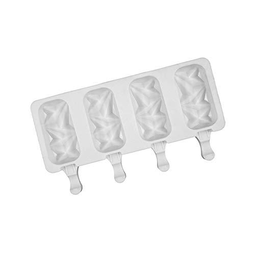 QQDS Molde para cubitos de hielo de silicona con 4 varillas de hielo de madera, molde para helado reutilizable para helado artesanal seguro para niños