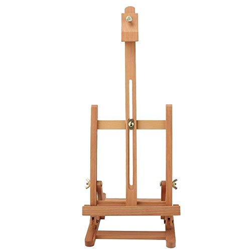 Caballete de estudio con marco en H de madera para mesa Caballete de exhibición de pintura de madera de haya ajustable para artista Soporte de imagen portátil resistente para exhibición de obras de ar