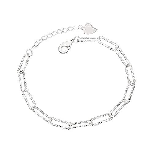 Pulsera de cadena en forma de hoja simple pulsera ajustable única para mujeres novia adolescente, talla única, Metal, Piedra solar de cobre,