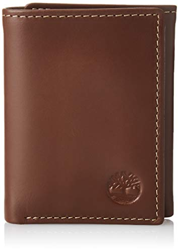 Timberland Herren Leather Trifold Wallet with ID Window dreiteilige Geldbörse, Braun (Hunter), Einheitsgröße