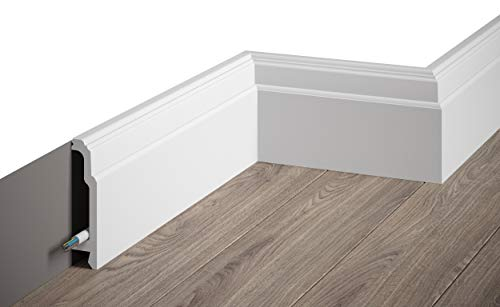 MARDOM DECOR Sockelleiste I MD363 I Fußbodenleiste Kabelkanal Abdeckleiste I 200 cm x 10,5 cm x 2,5 cm