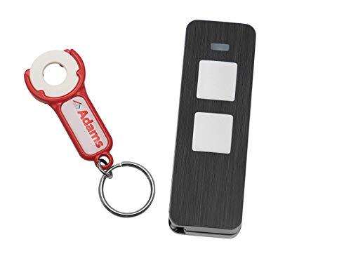 Sommer, Pearl Twin 2-Befehl-Handsender 868Mhz S10019-00001 SOMloq2 (1er Pack) + 1 Stück ADAMS Schlüsselanhänger/Einkaufschip