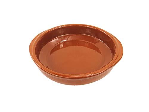 Cazuela de barro de 16 cm de diámetro. Apta para el Horno, Gas, vitrocerámica y para lavavajillas. Hecho en España a mano.