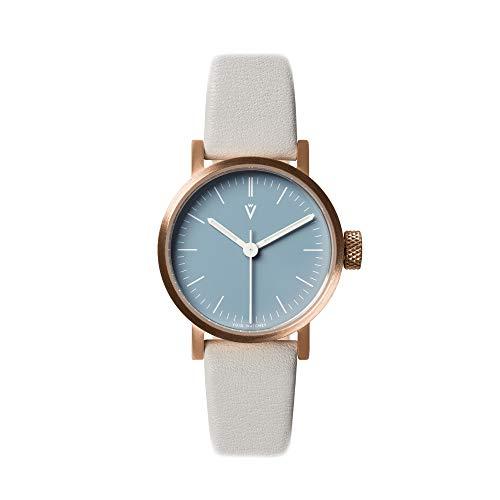V03P Petite Small Analog Watch by VOID Watches (Style: Kupfer Gehäuse & blaues Zifferblatt/Leder-Armband Grau
