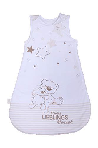 Herding Baby Best Baby-Schlafsack, Kleiner Lieblingsmensch Motiv, 90 cm, Seitlich umlaufender Reißverschluss und Druckknöpfe, Weiß