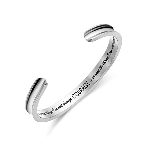 LIUANAN Serenity Prayer Bracelet God Grant Me The Serenity Bible Bangle For Womens Mens (Cuff Silver)