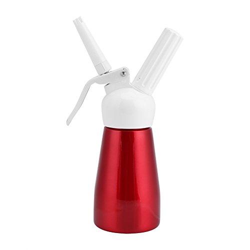 Schlagsahnespender 250 ml Tragbarer roter Aluminium-Schlagsahnebutter-Spender mit Schlagsahne für hausgemachte Schlagsahne, Saucen, Desserts und Liköre