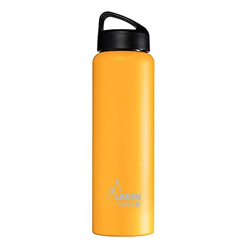 Laken Borraccia Termica Thermo Classic Bottiglia d'Acqua Isolamento sottovuoto Acciaio Inossidabile Bocca Larga–1Litri, Giallo