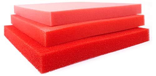 Pondlife Teich - Filterschaum/Filtermatte rot Red-Premium Größe 100 x 100 x 5 cm PPI 20 mittel