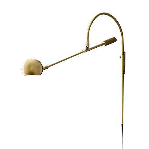 Luz de pared rústica, lámpara de pared de brazo largo de oro ajustable G9 de la pared G9 Aplicaciones antiguo industrial retro loft iluminación para el restaurante sala de estar de la sala de estudios