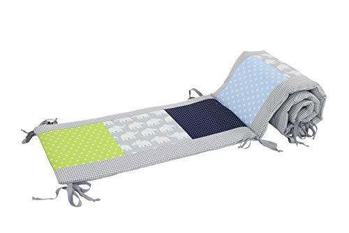 Bettumrandung für Babybett 70x140 cm | Made in EU | ÖkoTex 100 | Schadstoffgeprüft | Antiallergisch | Baby Nestchen für den Kopfbereich | Umrandung Babybett | Elefant Blau Grün | ULLENBOOM ®