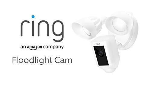 Ring Floodlight Cam von Amazon | HD Sicherheitskamera mit Flutlicht, Gegensprechfunktion und Sirene, weiß