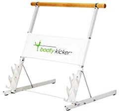 Hinge Design & Quick Release for folding flat. Rolling Wheels engage when tilted up Authentic Wooden Barre Durable Steel Construction. Off-white paint with Nickel Plated accents Weight Racks (weights not included) Gripping rubber feet for any floor
