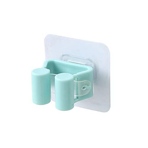 ZJ Hook Up Mop Rack Free Punching Powerful Mop Clip Hook Toilet Seamless Stick Hook Bathroom Broom Hanger Card Holder Coat Hooks (Color : Blue)
