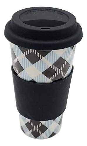 Upper Drawer 16 oz Ceramic Double Wall Insulated Travel Mug with 100% Silicone Lid (Plaid with Black Lid)