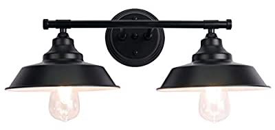 PUUPA 2 Lights Bathroom Vanity Light Fixtures, Industrial Pipe Vintage Matte Black Farmhouse Lighting with Metal Shade and Metal Base