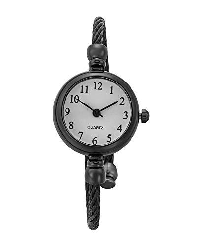JSDDE Uhren Vintage Damen Armbanduhr Chic Manschette Damenuhr Spangenuhr Rund Armreifen Armkette Uhr Quarzuhr Kleideruhr für Frauen Schwarz-Weiß