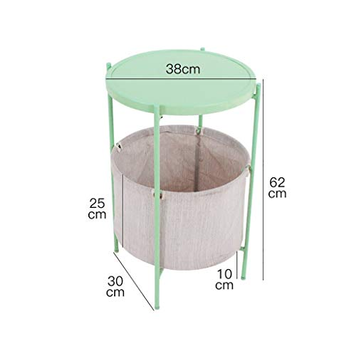 Saladplates-LXM metalen opslagmand bijzettafel salontafel plantenstandaard, 38 * 62 cm, grijze stof