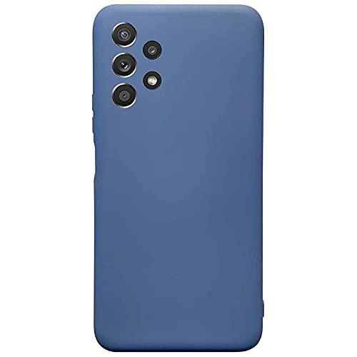 Compatible para Samsung Galaxy A52-5G Funda(Azul) Suave TPU Silicona Carcasa+3D Vidrio Templado Protector de Pantalla/Case Ultra Fina Anti-Caída Protección Funda para Galaxy A52-5G-2020