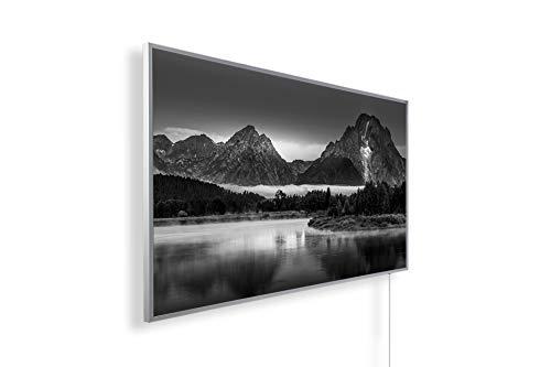 Könighaus Bildheizung (Infrarotheizung mit hochauflösendem Motiv) 5 Jahre Garantie (800-Grand Teton Landscape Oxbow Bend) - inkl. Thermostat