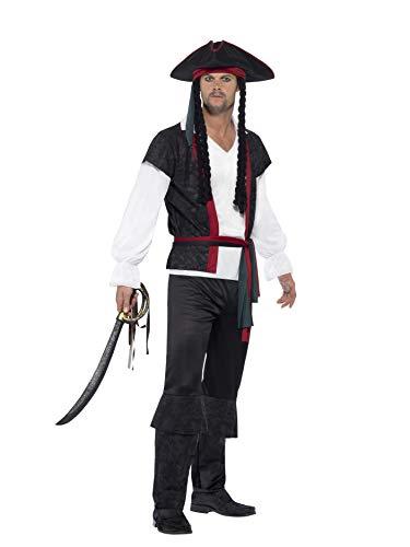 Smiffys Costume Capitano dei pirati, Nero, Con top, pantaloni, cravatta e cappello con i capelli, Large
