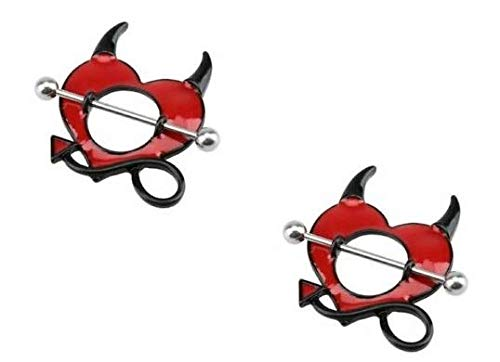 Nipple Ring Shield Piercing Jewelry Gothic Devil Horns Pitchfork Pair 14 gauge sold as pair CH55