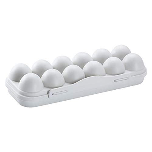 VAIYNWOM Kühlschrank Organizer - Eiereinsatz für Kühlschrank – Riesiger Eierhalter aus Kunststoff – Eierbehälter mit Deckel, Grau