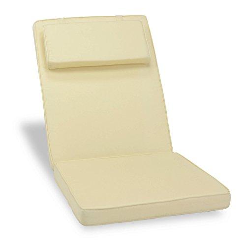 Nexos Divero Sitzauflage Stuhlkissen Sitzpolster für Gartenmöbel wie Hochlehner Gartenstuhl Campingstuhl Klappstuhl – bequem hochwertig robust - creme