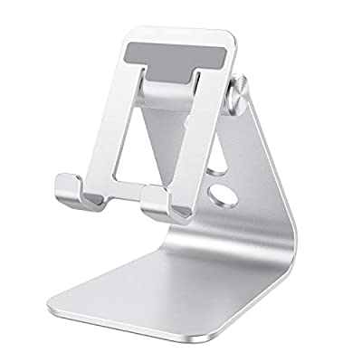 Cell Phone Stand Adjustable, OMOTON Aluminum Desktop Phone Holder Cradle Dock Compatible with All Smartphone iPhone 11 Pro Max Xs Xr X 8 7 6 6s Plus 5 5s 5c, Silver from OMOTON