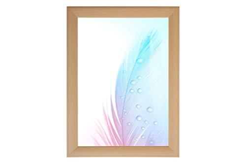DR24 fotolijst 60x70 (Esdoorn) op maat gemaakt, 35 mm brede MDF-houten frame inclusief anti-reflecterende kunstglas ruit, stabiele achterwand, buigpennen en hangers