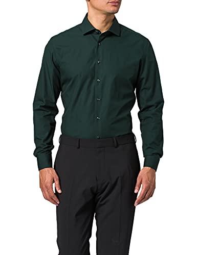 Seidensticker Herren Slim Fit Langarm Popeline Hemd, grün, 42