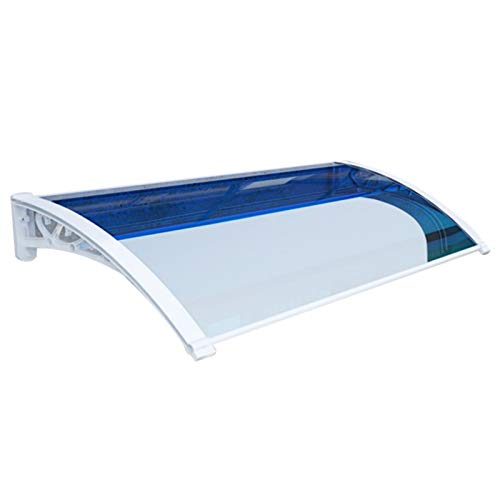 LIANGLIANG Awning Rain Door Canopy, Mute Self-cleaning Strong Bearing Capacity, Polycarbonate Anti-UV Patio Window Terrace Shop (Color : Blue, Size : 100x60cm)