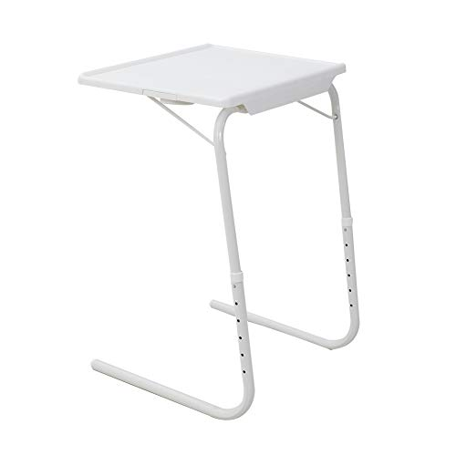 DREAMO Folding Snack Table Adjustable Portable Side Table for Sofa Bed Desk White
