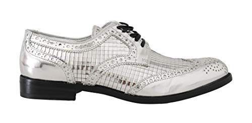 Dolce & Gabbana Silver Leather Mirrored Shiny Brogues