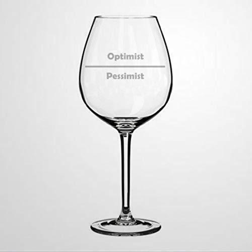 Copa de vino divertida optimista pesimista, personalizable, duradera, grabada a mano, copas de vino sopladas a mano