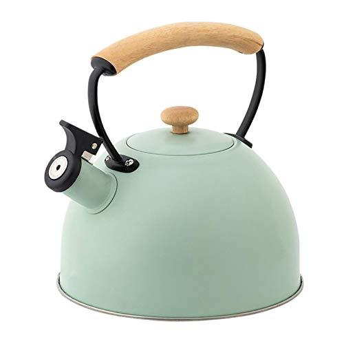 tea kettle Bouilloire en Acier Inoxydable de poêle à gaz 2.5L, Bouilloire de sifflet, avec poignée en Bois Anti-échappement/Vert (Couleur : Vert, Taille : 2.5L)