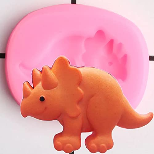 AAKK Molde De Pastel Animales Dinosaurio Moldes De Silicona Cupcake Topper Candy Chocolate Gumpaste Molde DIY Baby Birthday Fondant Cake Decorating Tools