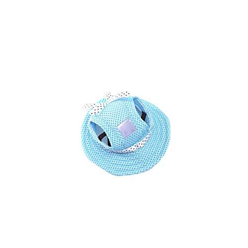 song rong Rund Brim Pet Cap-Masken-Hut Hund Retro Porous Sun Cap mit Ohrlöcher für kleine Hunde oder Katzen Blau S