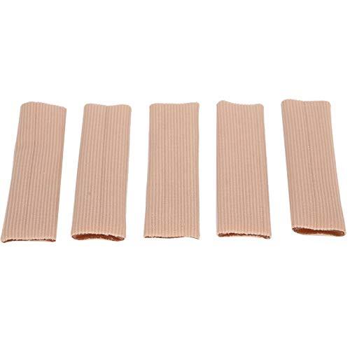 5 piezas de protección para los dedos, separador de dedos, tubo para dedos, suave, transpirable, cortable, con mangas, separador, pedicura, maíz, PU, gel, tejido elástico, protector(L)