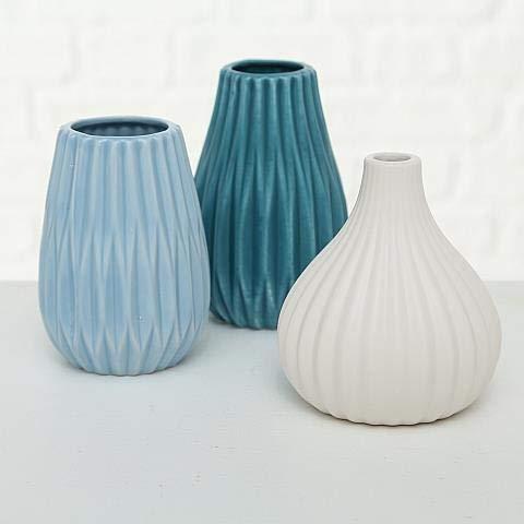 Boltze Vase Wilma 3sort H12cm blau Steingut