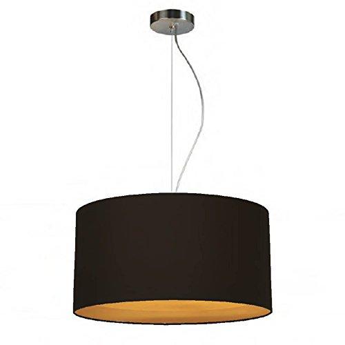 Schöbel Kristallglas Lounge Loft Pendelleuchte Hängeleuchte Deckenleuchte SIMPLE ROUND TWO 40 (40x20cm) mit Lampenschirm Stoff aus Baumwolle, verschiedene Farben (schwarz gold)