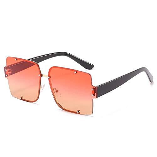 ZZOW Gafas De Sol Cuadradas Sin Montura Semimetálicas A La Moda para Mujer, con Remaches Vintage, Lentes Transparentes con Gradiente Oceánico, Gafas De Sol para Hombre, Sombras