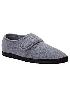 KingSize Men s Wide Width Adjustable Fleece Slippers - Big - 15 W Charcoal Gray