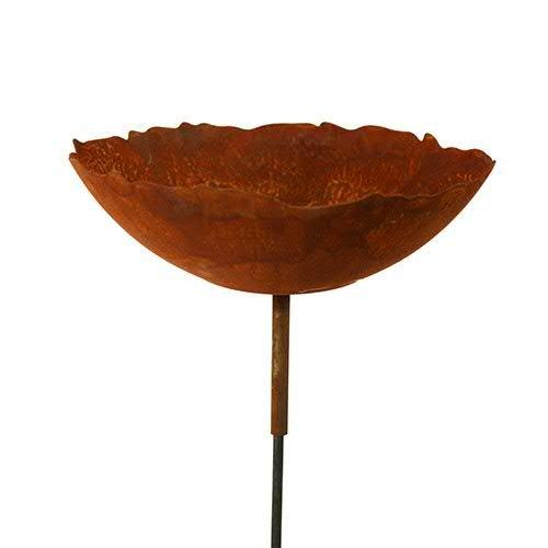 Rost - Gartenstecker mit Schale - Durchmesser 27cm - Hochwertige Gartendekoration