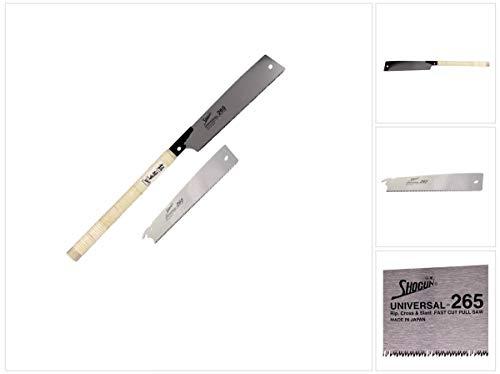 Shogun Japansäge Universal Holz Zugsäge langer Holzgriff (OK-265RC) Klinge 265 mm + Japan Holzsägeblatt Universal Impuls gehärtet - Made in Japan